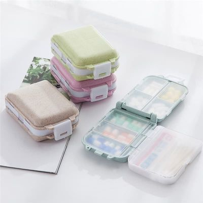 Pill Box Mini 8 Grids Medicine Tablet Week Pillbox Case Container Organizer Health Care Drug Travel Divider Portable Blue Tool