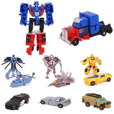 Kids Toy Boys Transformation Mini Robot Car Assembling Building Blocks Aircraft robot Manual small deformation pocket Baby toys