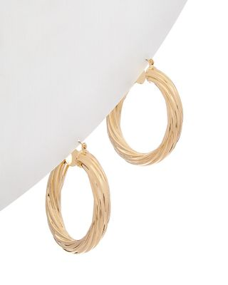 Kenneth Jay Lane 22K Plated Textured Hoops