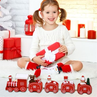 Christmas Decorations Five-section Small Train Christmas Children's Gifts Wooden Window Decorations Christmas Decoration Toy