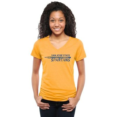 San Jose State Spartans Women's Classic Wordmark Tri-Blend V-Neck T-Shirt - Gold