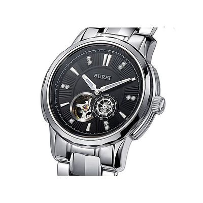 BUREI Mechanical Watches Men Rose Gold Silver Military Sapphire Crystal Business Automatic Wrist Watch Clock Saat Montre Homme Xw-Black