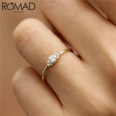 ROMAD Dainty Zircon Crystal Rings for Women Girls Simple Wedding Rings Charm Lover Couple Ring Finger Jewelry Anillos Mujer Gift