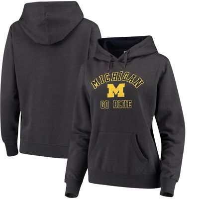 Women's Stadium Athletic Charcoal Michigan Wolverines Arch & Logo 2 Pullover Hoodie