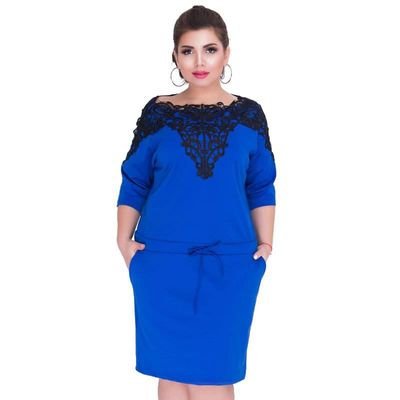 2018 Fashion Brand Women Dress Big Size Patchwork Straight Lace Sexy Casual Dresses Party Vestidos Three Quarter Sleeve Dress