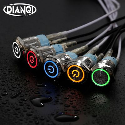 16mm Metal Annular Push Button Switch Ring Power LED 6V 12V 220V Self-lock Momentary Latching Waterproof for Car Auto Engine