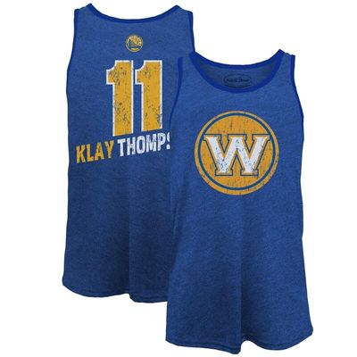Klay Thompson Golden State Warriors Majestic Threads Name & Number Tri-Blend Tank Top - Royal