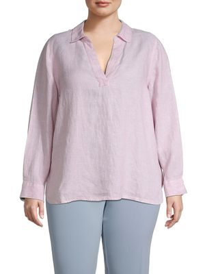 Not Your Daughter's Jeans Plus Stripe Linen Tunic Top