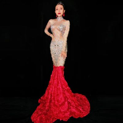 Women Sexy Body con Outfit Club Prom Long tail Red Evening Dress Rhinestone Birthday Party Star Show Formal Costume Clothes