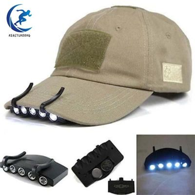 Outdoor Hunting Clip-On Head Light Head Lamp Cap 5 LED for Fishing Camping Hunting Hiking Tools Night Light Black