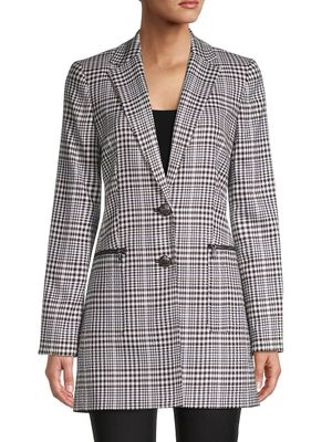 Karl Lagerfeld Paris Plaid Notch Lapel Blazer