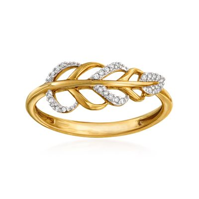 Ross-Simons 14kt Yellow Gold Diamond-Accented Leaf Ring