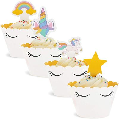 100-Pack Rainbow Unicorn Cupcake Toppers and Wrappers, Birthday Party Decorations, 1 X 3 inches