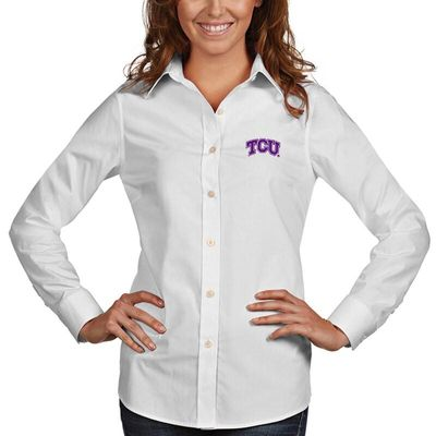 TCU Horned Frogs Antigua Women's Dynasty Woven Long Sleeve Button-Up Shirt - White