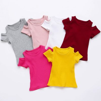 Summer Children T Shirt Casual Simple Baby Girls Solid Soft Cotton tshirt Tops Kid Toddler Short Sleeve T-shirts Kids Clothing