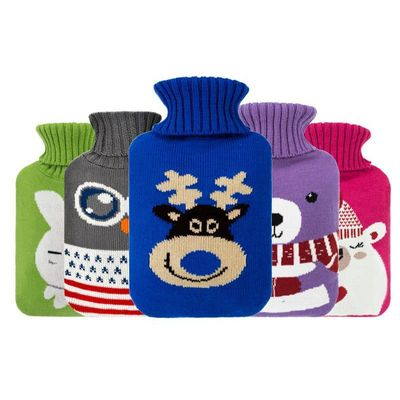 2000ml Hot Water Bag Bottle Cartoon Knitted Cover Large Size Cloth Cover Home Christmas Patterns Hot Water Container