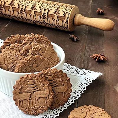 Christmas Engraved Roller Reindeer Snowflake Embossing Rolling Pin Cookies Noodle Biscuit Fondant Cake Dough walek do ciasta AD
