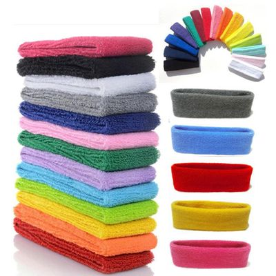 1PC Headband Women/Men Cotton Sweat Sweatband Headband Yoga Gym Stretch Head Band For Sport elasticity Sweat Bands Sports Safety