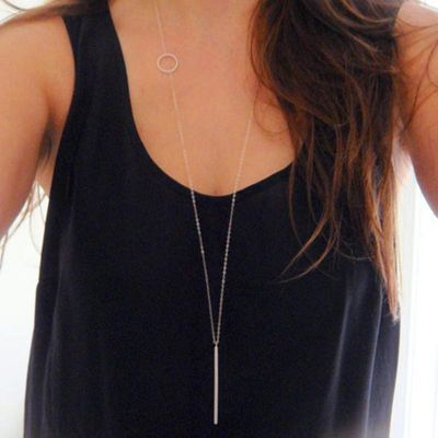 European and American fashion jewelry long copper rod Pendant Necklace popular with women