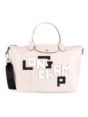 Longchamp Logo Patch Leather Satchel