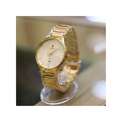 Men Gold Chain Gold Face Wrist Watch