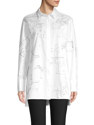 Lafayette 148 New York Kehlani Embroidered Graphic Blouse