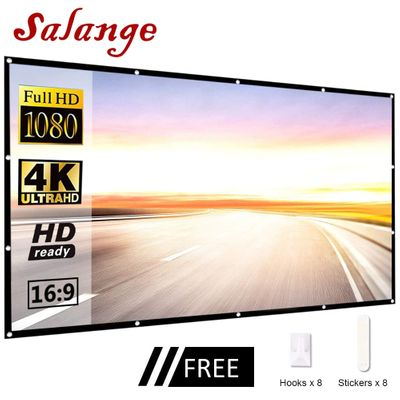 Salange Screens For Projector Portable,60 100 120 inch 16:9,Polyester Outdoor Movie Screen For Travel Home Theater DLP Projektor