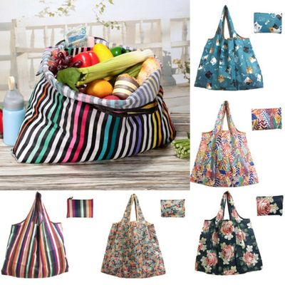 1PC Foldable Reusable Nylon Eco Handbag Storage Travel Shopping Tote Grocery Bag