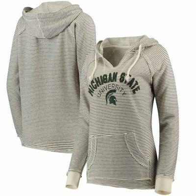 Michigan State Spartans Blue 84 Women's PRG Striped French Terry V-Neck Hoodie - Cream