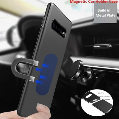 Magnetic Car Holder Case For Samsung Galaxy S10E S10 Plus TPU Silicone Magnet Case For Samsung S9 plus S10E Metal Plate