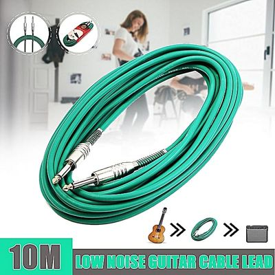 10m Low Noise PVC Nickel Plated Coloured 6.35mm (1/4) Mono Jack Plug Electric Guitar Bass Cable Lead Guitar Instrument Accessory