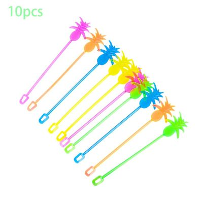 10PCS/Set Hot Pineapple Cocktail Picks Stirrers Multicolor Tropical Swizzle Sticks Dinner Party Drink Mixer Tools