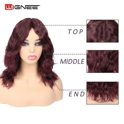 Wignee Short Human Hair 99J Wigs For Black Women Middle Part Natural Wave 150% High Density Lace Part Remy Hair Cheap Human Wigs