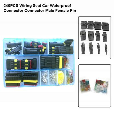 240PCS Wiring Seat Car Waterproof Connector Male Female Pin/ Socket Wiring Spring Terminal Set for Cars Motorcycles Trucks Ships