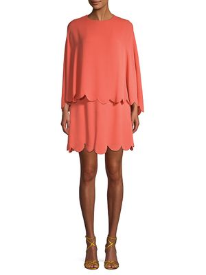 Valentino Scalloped Cape Silk Mini Dress