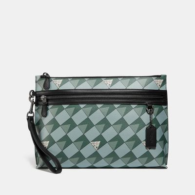 COACH Carryall Pouch With Check Geo Print