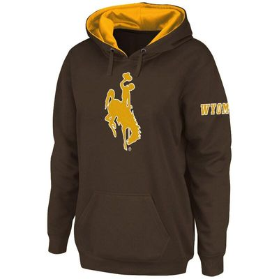 Wyoming Cowboys Stadium Athletic Women's Big Logo Pullover Hoodie - Brown