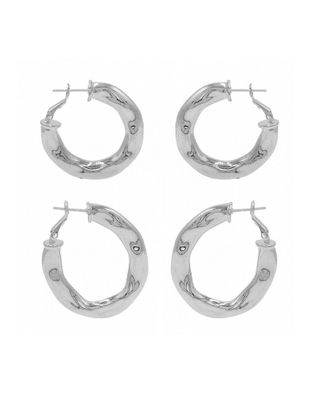 8 Other Reasons Rhodium Plated Set of 2 Pairs of Hoops