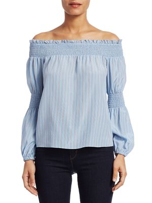 L'Agence Mona Stripe Silk Off-The-Shoulder Blouse
