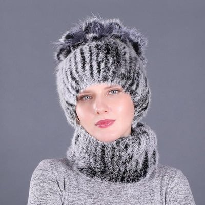 Newest Elastic Knitted Rabbit Fur Beanies And Collars with Fox Pomom Genuine Fur Winter lady Cap Real Fur Hat & Scarf