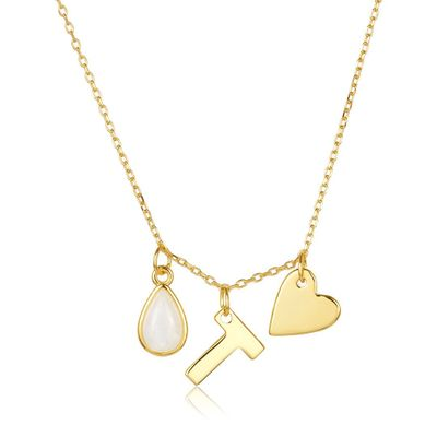 Adornia Three Charm Necklace Moonstone Yellow Gold Vermeil .925 Sterling Silver