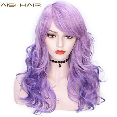 AISI HAIR 22'' Synthetic Wigs with Bangs Long Wavy Purple Pink Hair Mix Color Women Wigs Heat Resistant Hair Grey Cosplay Wig
