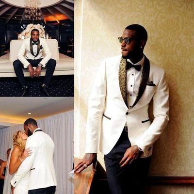 Handsome White Wedding Tuxedos Slim Fit Gold Pattern Laple Suits For Men Cheap One Button Groom Suit Beach Wedding Wear 2019