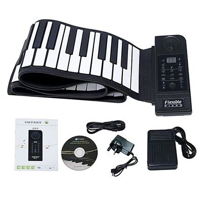 Welink Portable 88 Keys Roll Up Electronic Piano Keyboard Silicone Flexible Roll Up Electronic Keyboard Piano With Loud Speaker And Foot Pedal (Black) (Black) WAMKAI