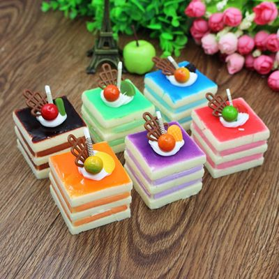 Fake Food Simulation Three-tier Square Cream Fruit Cake Artificial Lifelike Model Food Cake Kitchen Props Decoration Home Decor