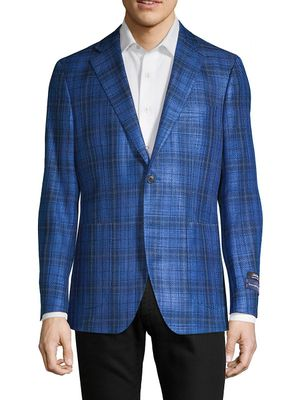 Saks Fifth Avenue Made in Italy Plaid Silk & Cotton Sportcoat
