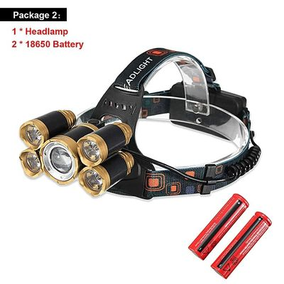 50000lm Headlamp 5*T6 LED Headlight Zoom Fishing Flashlight Torch Head Lamp Rechargeable Forehead Light Use 18650 Battery BIL