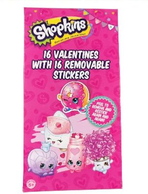Shopkins 16 Valentines Cards with Removable Stickers