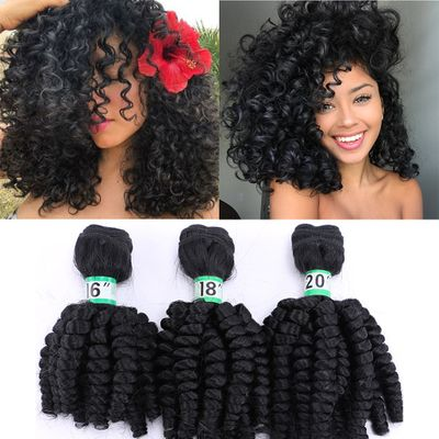 Natifah 16-20inch Synthetic Bouncy Curly Hair Bundles Curly Hair Extension Hair Weaving Double Weft Wave for Woman African