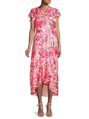 AVA & AIDEN Floral-Print High-Low Dress